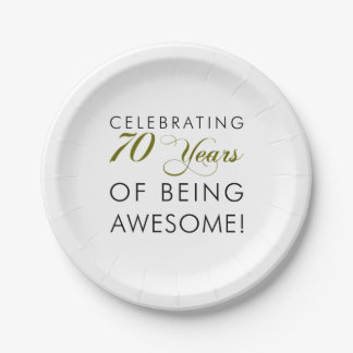 Celebrating 70 Years Of Being Awesome Paper Plate