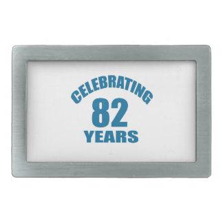 Celebrating 82 Years Birthday Designs Rectangular Belt Buckle