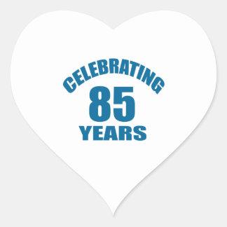 Celebrating 85 Years Birthday Designs Heart Sticker