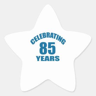 Celebrating 85 Years Birthday Designs Star Sticker