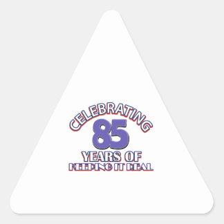 Celebrating 85 years triangle sticker