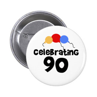 Celebrating 90 6 cm round badge