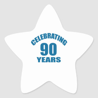 Celebrating 90 Years Birthday Designs Star Sticker