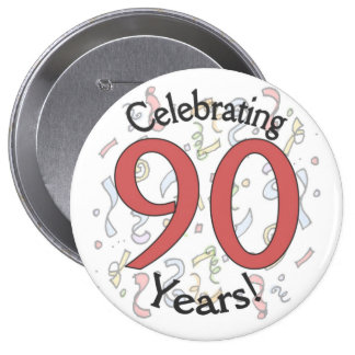 Celebrating 90 years confetti birthday huge button
