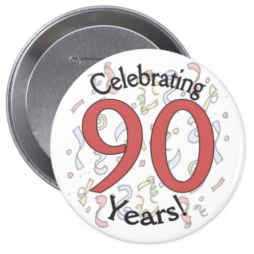 Celebrating 90 years confetti birthday huge button