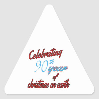 Celebrating 90th year of christmas on earth triangle sticker