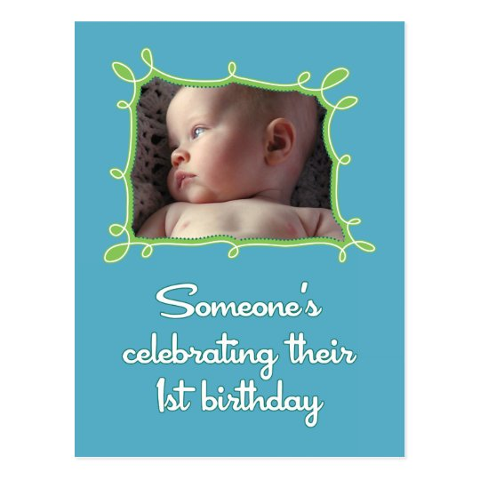 Celebrating a First Birthday Invite Postcard