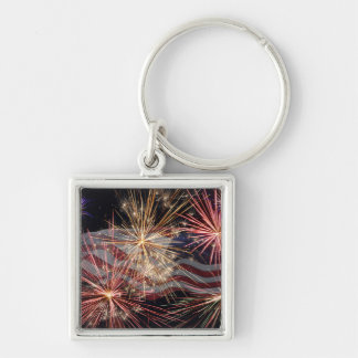 Celebrating America Silver-Colored Square Key Ring