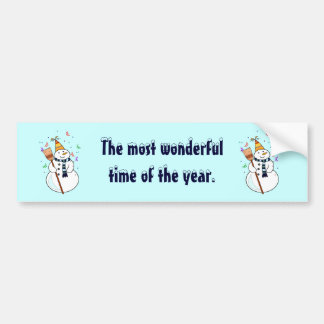 Celebrating Snowman Bumper Sticker