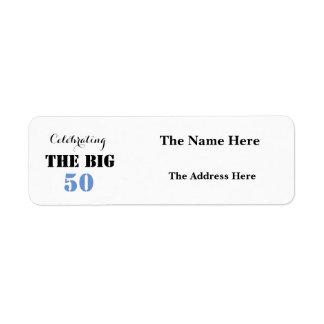 Celebrating THE BIG 50 Birthday - Return Address Return Address Label