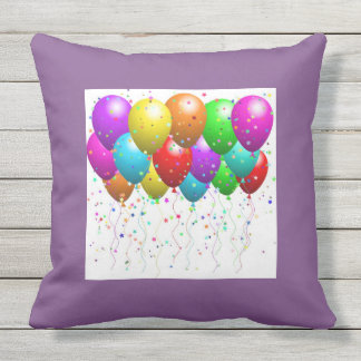 "Celebration Balloons Throw Pillow 20""x20"" Outdoor"