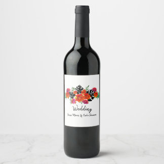 Celebration Bold Watercolor Floral Spring Wedding Wine Label