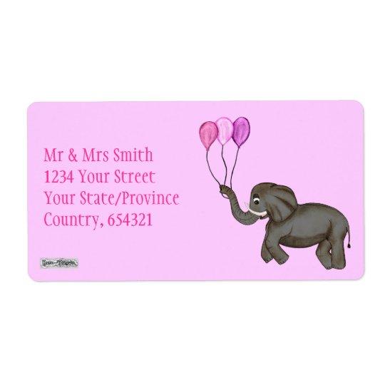 Celebration Elephant (Pink) Shipping Label