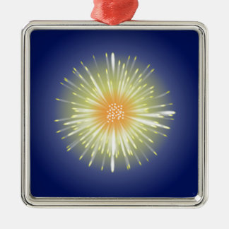 Celebration Firework Silver-Colored Square Decoration