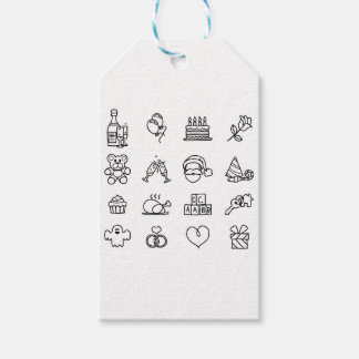Celebration Holiday or Gift Hand Drawn Icon Set Gift Tags