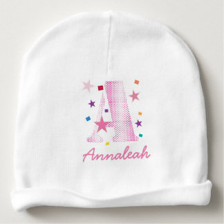celebration letter A pink polkadot pattern.ai Baby Beanie