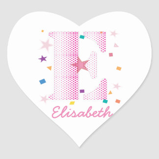 celebration letter E pink polkadot pattern.ai Heart Sticker