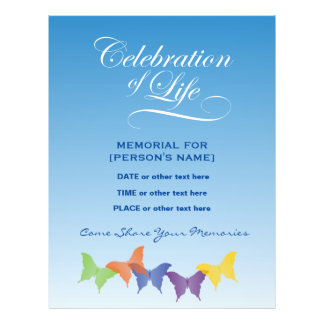 Celebration of Life Butterflies Invitation Flyer