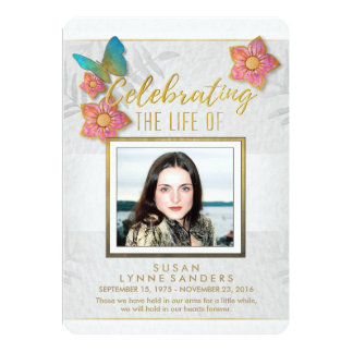 Celebration of Life Floral Butterfly Photo Invite