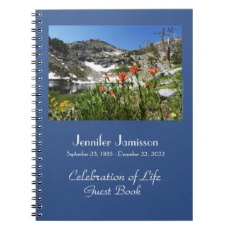 Celebration of Life Guest Book Alpine Wildflowers Notebook