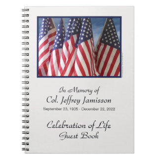 Celebration of Life Guest Book, Flags Notebooks