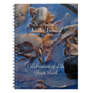 Celebration of Life Guest Book, Leaves in Water Spiral Note Books