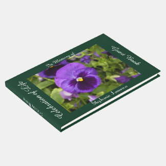 Celebration of Life Guest Book Purple Flower Pansy