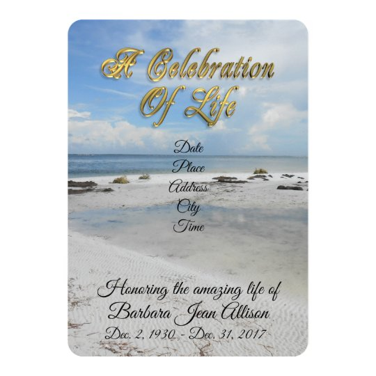 Celebration of Life invitation Beach