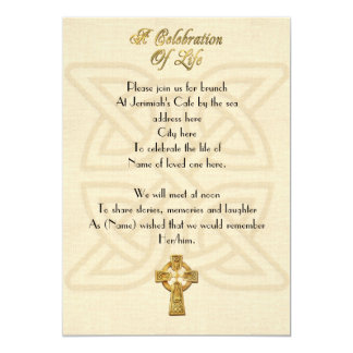 Celebration of life Invitation Celtic knot & cross