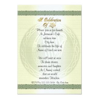 Celebration of life Invitation Celtic Knot Irish