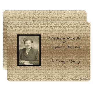 Celebration of Life Invitation, Gold with Photo Card