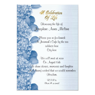 Celebration of life Invitation hydrangea blue