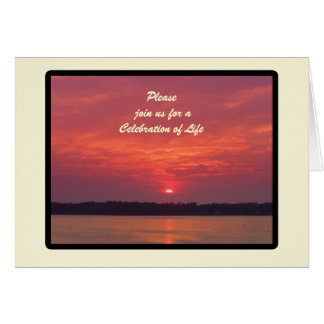Celebration of Life Invitation, Maine Sunset Greeting Card