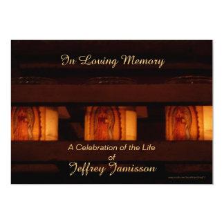 Celebration of Life Invitation, Memorial Candles 13 Cm X 18 Cm Invitation Card