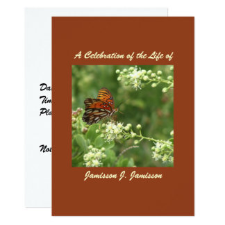 Celebration of Life Invitation, Orange Butterfly Card