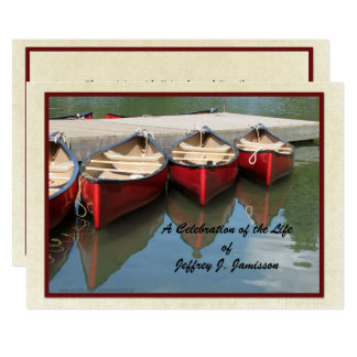Celebration of Life Invitation, Red Canoes Card
