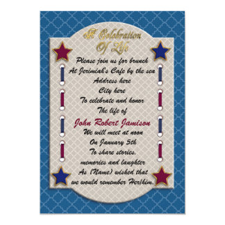 Celebration of life memorial invitation patriotic