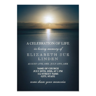 Celebration of Life | Sun Over the Ocean 13 Cm X 18 Cm Invitation Card