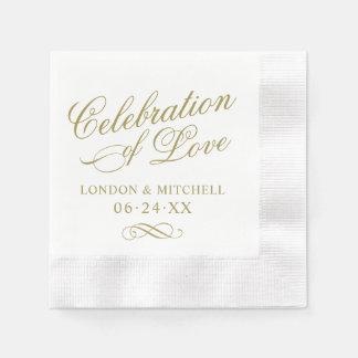 Celebration of Love   Gold Classic Elegance Paper Napkins
