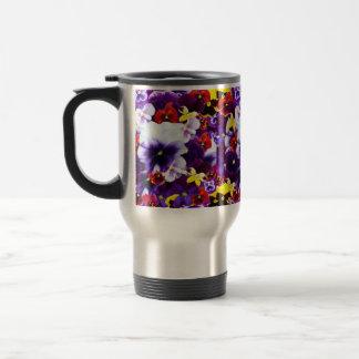 Celebration Of Multi Coloured Pansies, Travel Mug