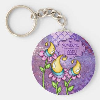 Celebration Positive Thought Doodle Flower Keychai Key Ring