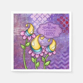 Celebration Positive Thought Doodle Flower Napkin Paper Serviettes