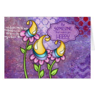 Celebration Positive Thought Doodle Flower Note Ca Card