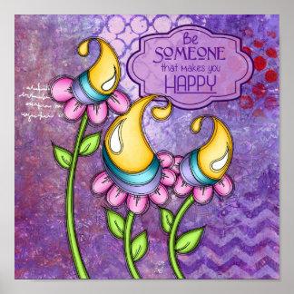 Celebration Positive Thought Doodle Flower Poster