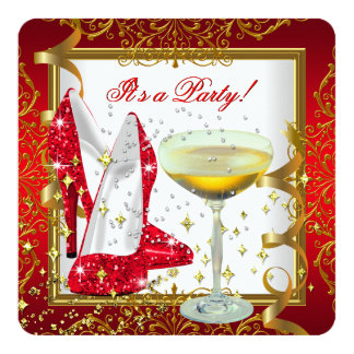 Celebration Red Champagne White Gold Shoes Party Invites