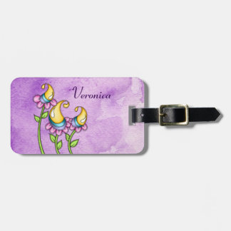 Celebration Watercolor Doodle Flower Luggage Tag