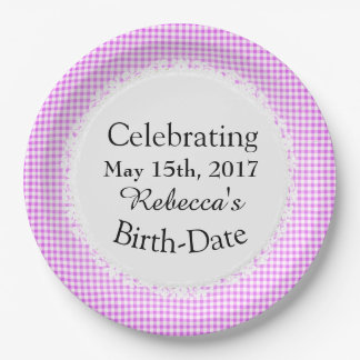 Celebrations_Birth-Gingham_Picnic_Pink-Check Paper Plate