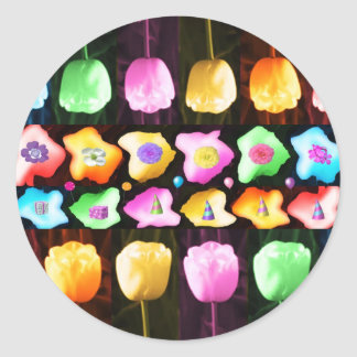 Celebrations: Floral Colorful Icebergs Round Sticker
