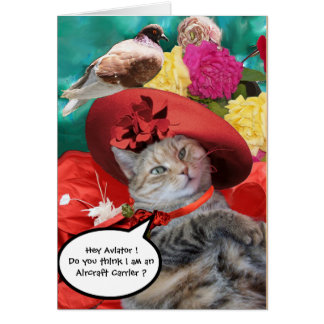 CELEBRITY CAT PRINCESS TATUS, RED HAT WITH PIGEON CARD