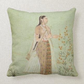 Celedon Green Mughal Woman, Garden Throw Pillow